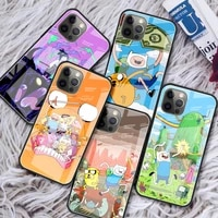 glass funda for apple iphone 11 12 pro 7 shell for apple xr x xs max 6 6s 8 plus phone case adventure time cover