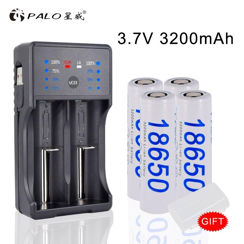 2020 nueva batería 18650 3,7 V 4 Uds recargable 18650 batería de iones 3200mAh + 18650 cargador de batería para linterna batería