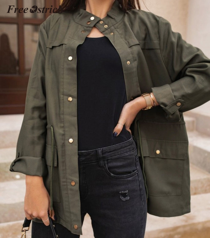 Free Ostrich abrigo mujer moda manga larga cintura ancha cuello redondo sólido bolsillos chaqueta mujer Harajuku Casual Jaket N30