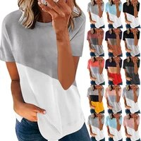 2021 woman summer tshirts new clothing contrast color matching o neck short sleeve womens t shirts plus fashion