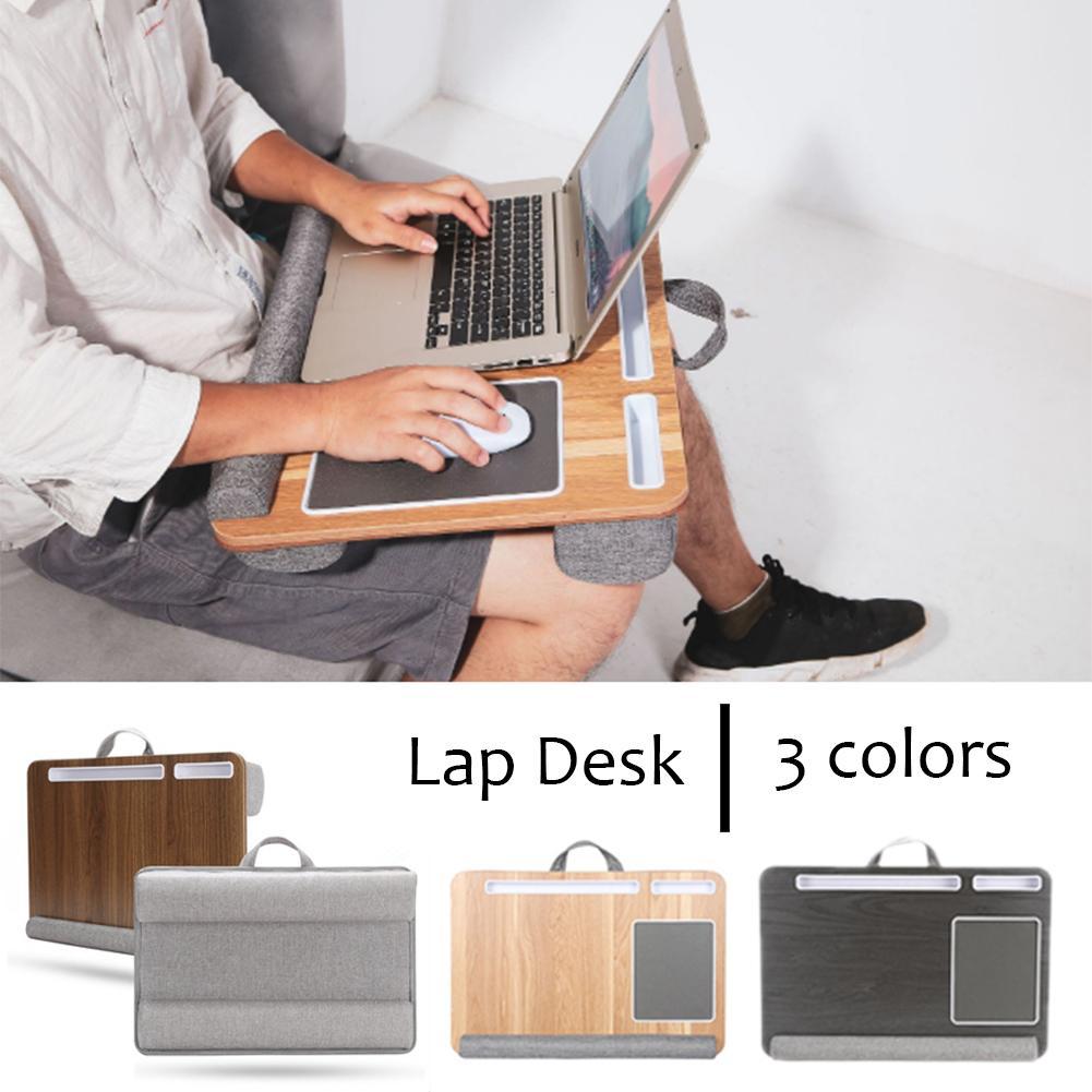 Mesa de volta, construído em almofada do mouse & almofada de pulso para notebook, macbook, tablet, suporte para computador portátil com tablet, caneta e suporte para telefone