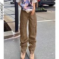 rockmore vintage baggy straight jeans woman streetwear pockets wide leg pants capris high waist cargo denim trousers femme
