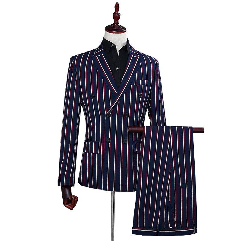 Blazer de trajes deportivos para hombre con tira retro ajustada y doble botonadura, traje informal de fiesta de Gala para boda y caballeros de Navidad (chaqueta + pantalones)