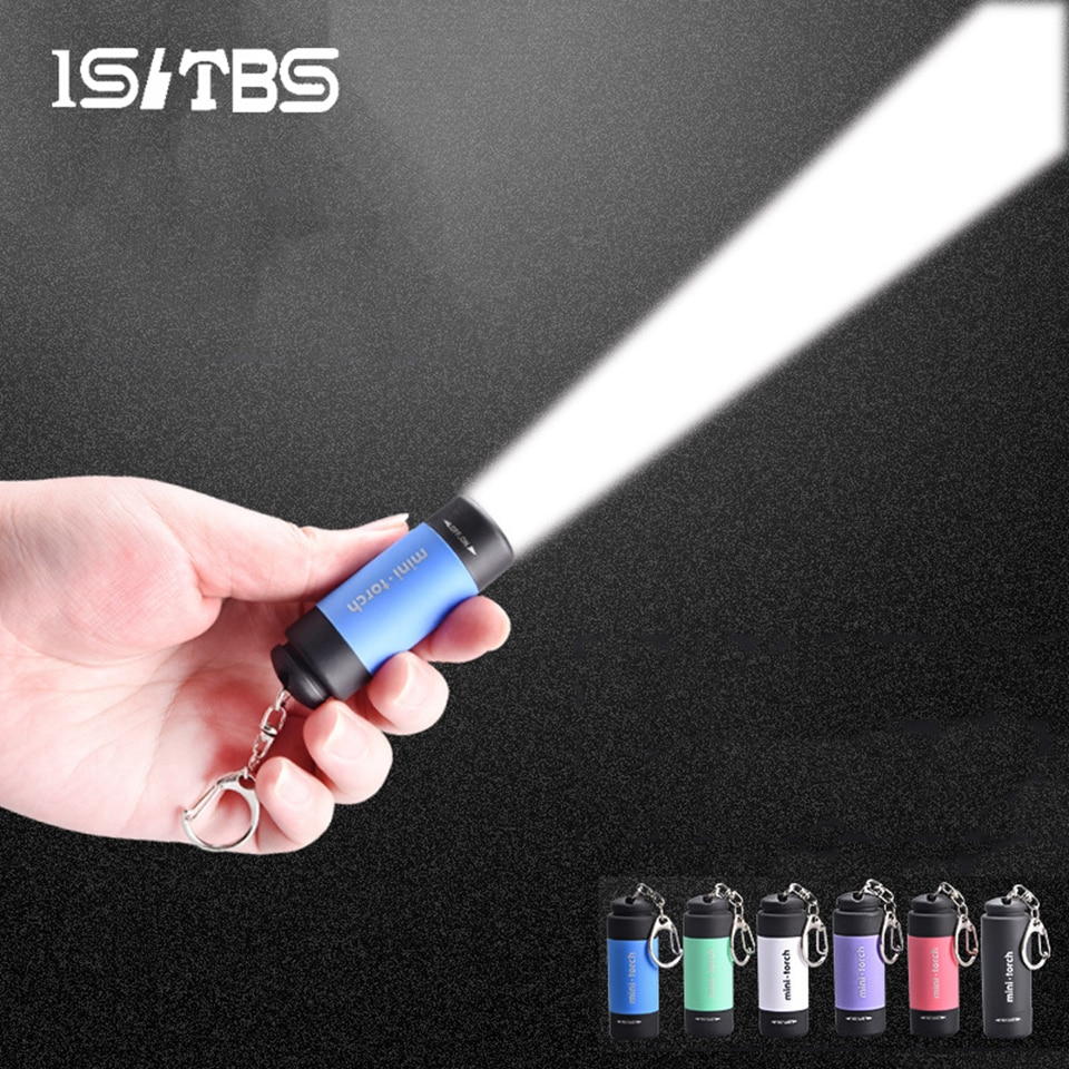 LED Mini Flashlight Key Chain Portable Torch Outdoors Waterproof Built-in Battery USB Rechargeable H