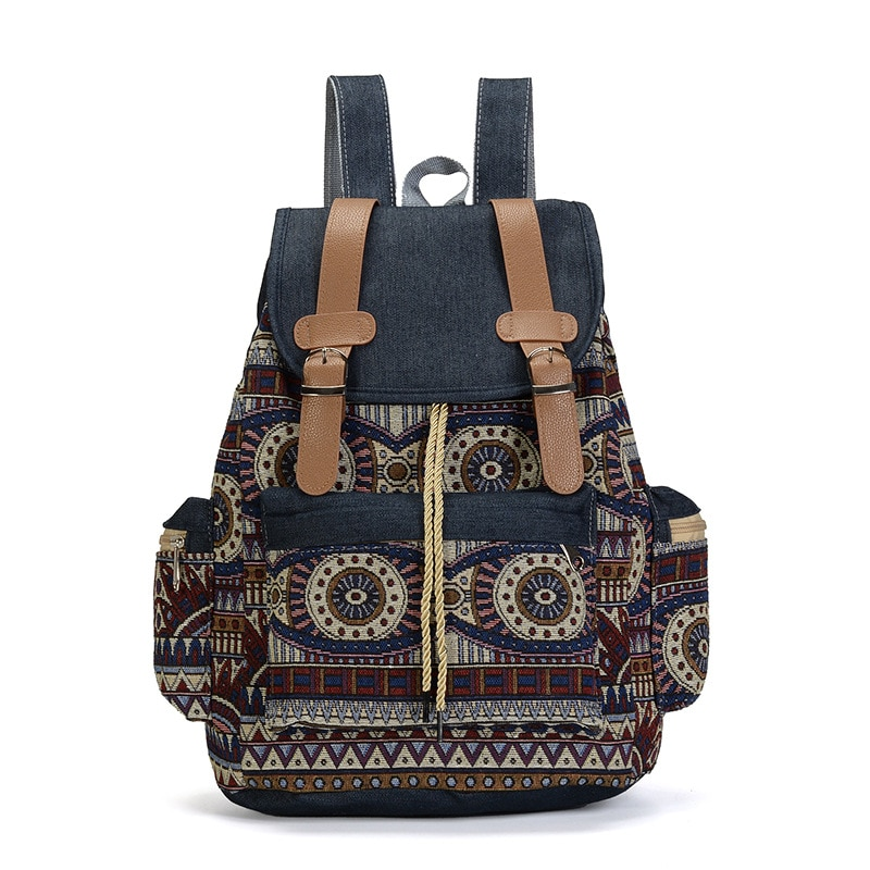 High Quality Women Canvas Vintage Backpack Ethnic Backpacks Bohemian Backpack Schoolbag Rugzak Back Pack Bag Pack Rucksack недорого