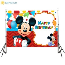 Sensfun Rode Mickey Mouse Thema Fotografie Achtergrond Ballon Lint Boy Party Achtergrond Verjaardag Photo Booth Props Vinyl 7x5ft