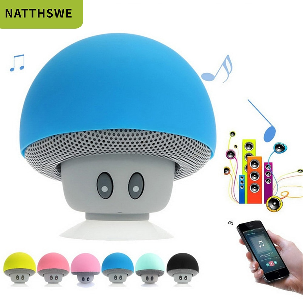 Mini Wireless Bluetooth Speaker Mushroom Portable Waterproof Shower Stereo Subwoofer Music Player For Phone