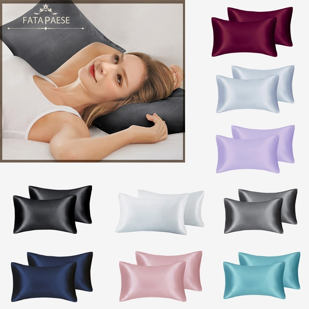 AliExpress - FATAPAESE Solid High Quality Silky Satin Skin Care Pillowcase Hair Anti Pillow Case Queen King Full Size Pillow Cover