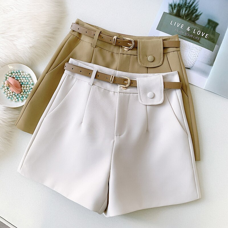 Wasteheart Spring New Casual Black Coffee Polyester Shorts Women High Waist Shorts Camel Short Zipper England Style Slim Sashes