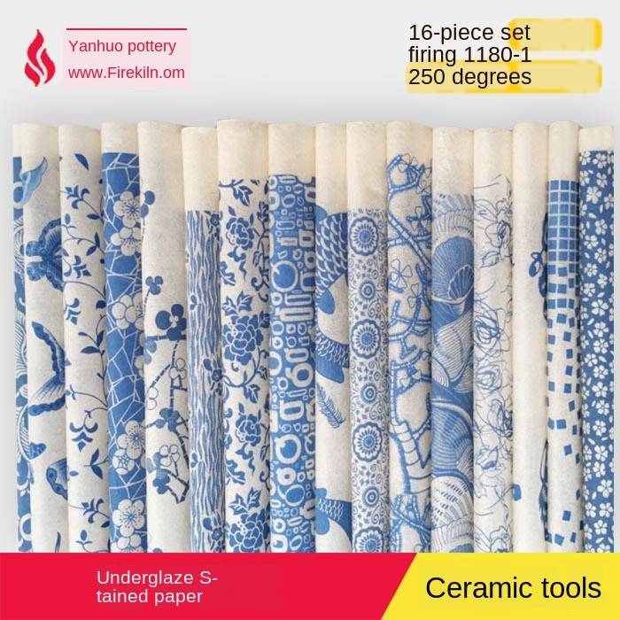Cerámica cerámica arcilla papel de transferencia glaseado underglaze flor papel Jingdezhen azul y blanco porcelana plain applique