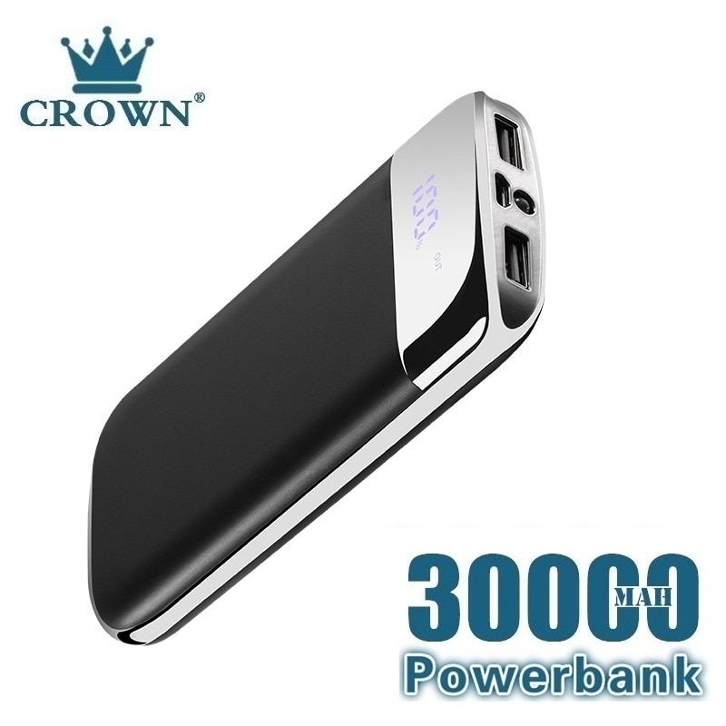 30000mah Power Bank External Battery PoverBank 2 USB LED Powerbank Portable Mobile phone Charger for