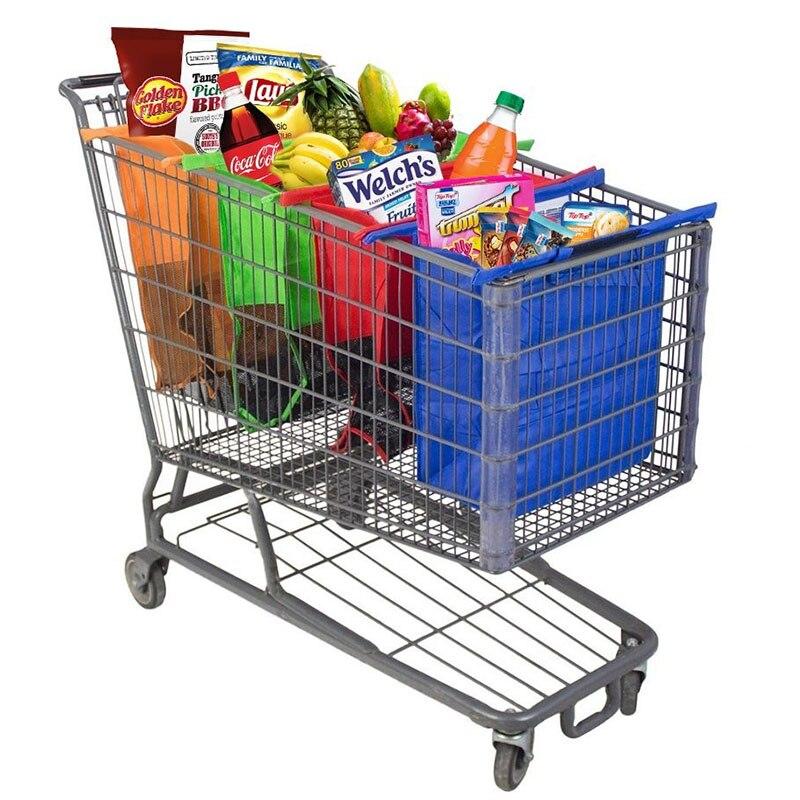 4 قطعة/المجموعة عربة تسوق حقائب تسوق سهلة الاستخدام والثقيلة Bolsas قابلة للطي قابلة لإعادة الاستخدام البقالة التسوق ايكو اكياس السوبرماركات