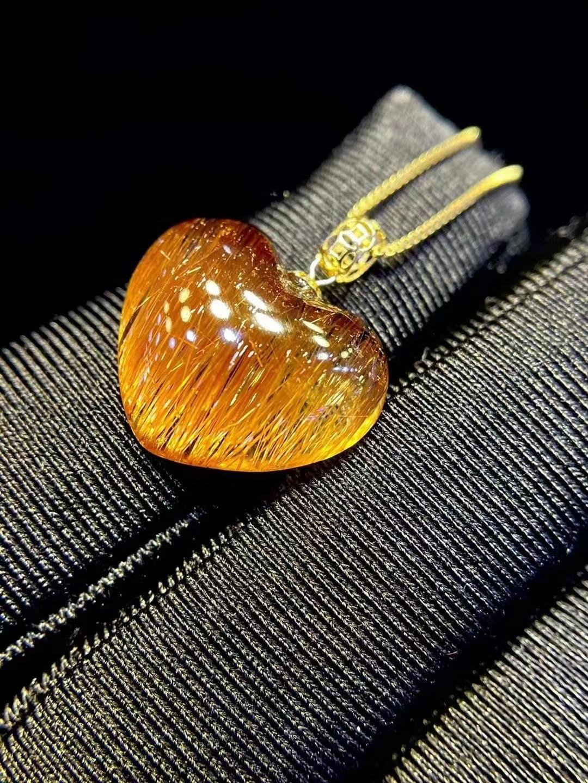 Natural Copper Rutilated Quartz Pendant Heart Love Women 17*14*5mm Brazil Clear Crystal Fashion Pendant Jewelry AAAAAA