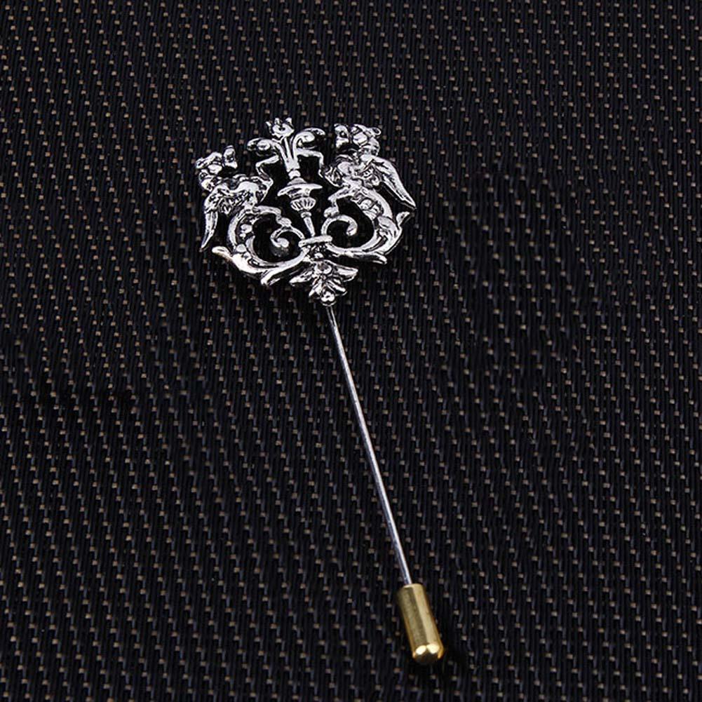 Pin de solapa de León doble hueco clásico tono plateado dorado bronce para hombre Accesorios de traje PIN de broche
