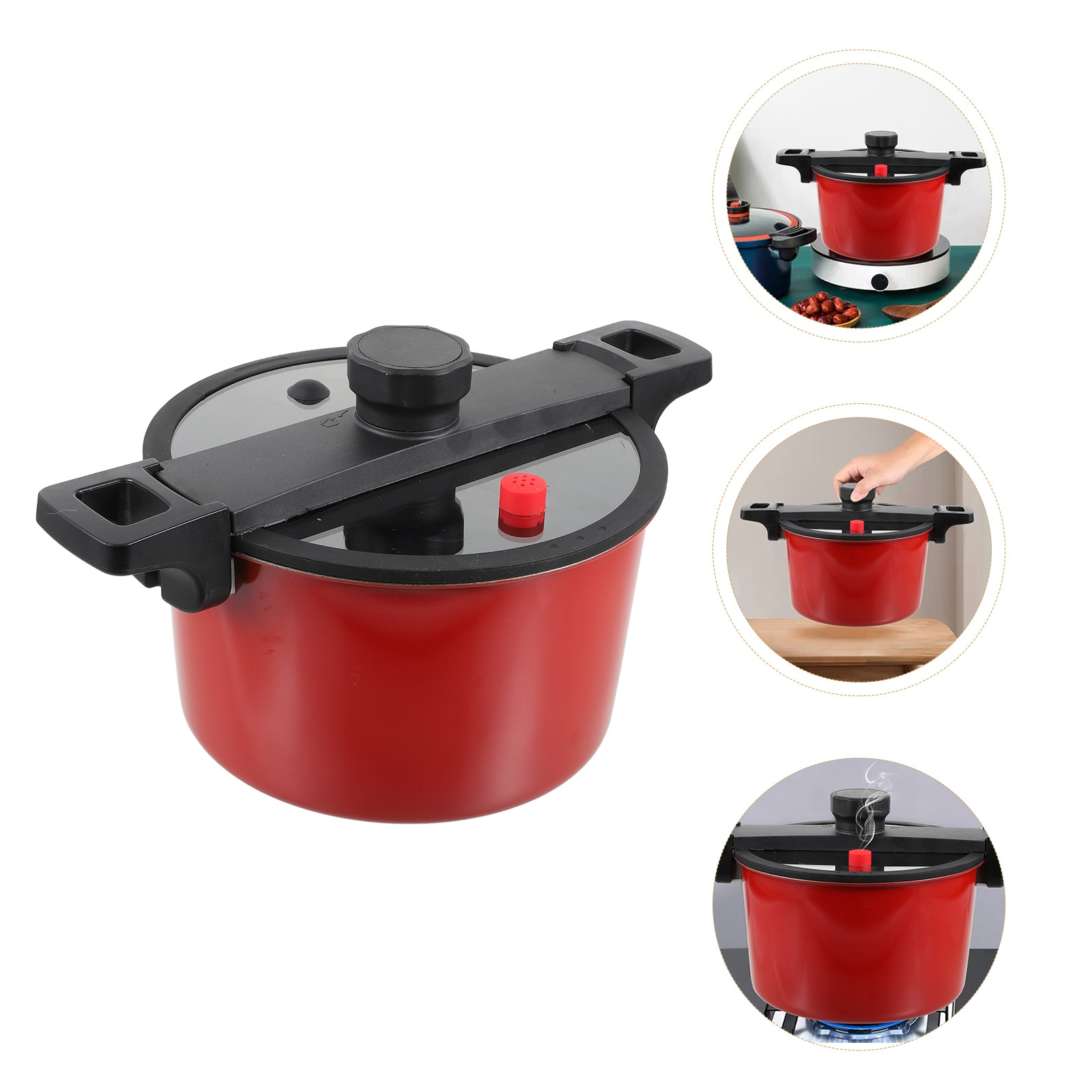 1Pc Low Pressure Cooker Low Pressure Pot with Lid Practical 6L Cooking Pot