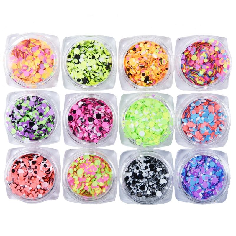 AliExpress - 12Box(3ML Jar)/set Confetti Chunky Loose Nail Glitter Sequins 1mm/2mm/3mm Round Dots DIY Glitter Nails Art Sequins Glitter PT068
