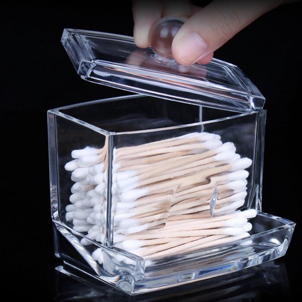 Caja de almacenamiento de hisopos de algodón acrílico cristalino, cajas de almacenamiento transparentes para escritorio, almohadillas de algodón para lápiz labial de muestra de cosméticos