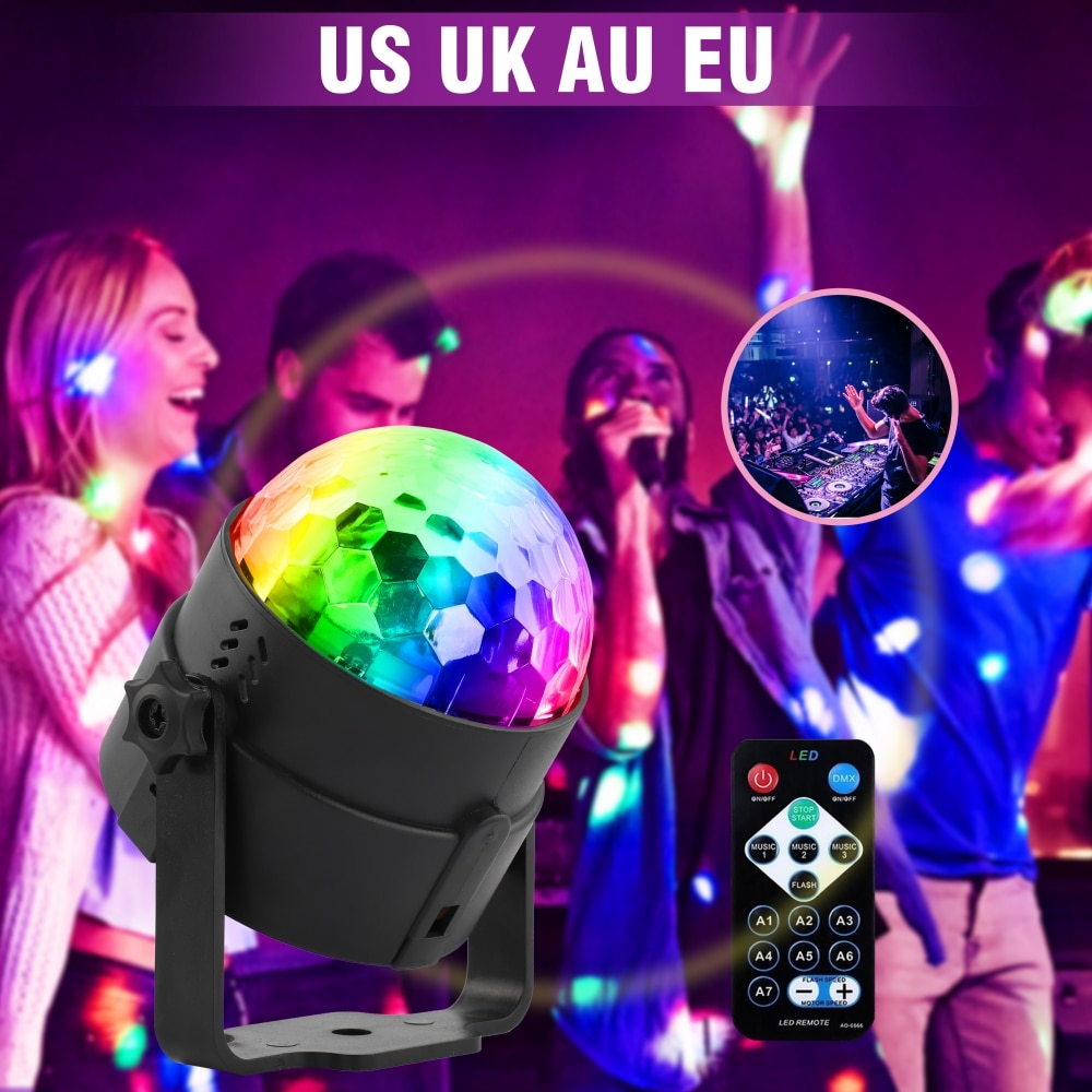 mini stage light 3w usb powered sound actived multicolor disco ball magic effect lamp for birthday party concert d U'King UV 3 LEDs Magic Ball Disco Light Stage Lighting Effect with Remote Controller Auto Sound Control for DJ Concert Party