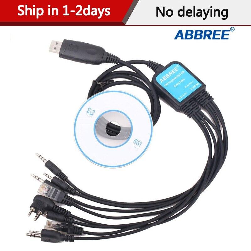 Abbree 8 ב 1 USB כבל תכנות עבור Baofeng UV5R UV82 888S עבור TYT Kenwood מוטורולה Yaesu אייקום HYT מכשיר קשר רדיו