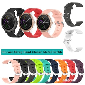 20mm Silicone Watch Band Classic Metal buckle Strap for Garmin Vivoactive 3 Music for Forerunner 645 245 Replacement strap