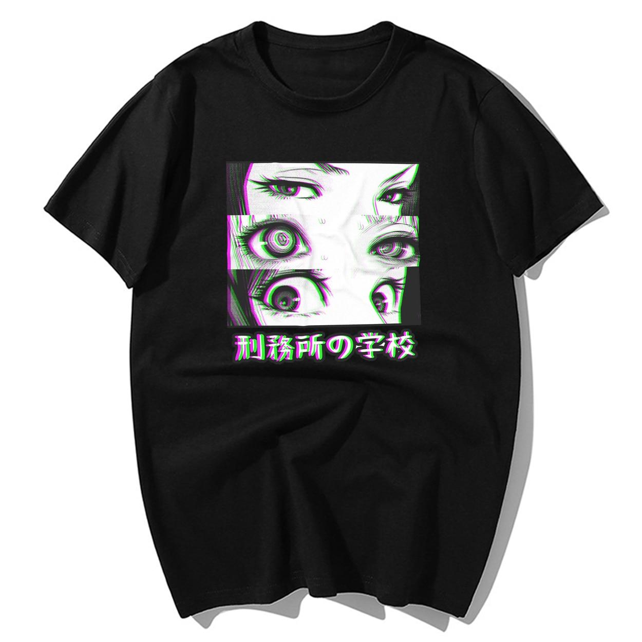 Тюрьма школа глаза сад японского аниме Эстетическая Футболка мужская забавная футболка Летняя хлопковая футболка с коротким рукавом хип-хоп топы