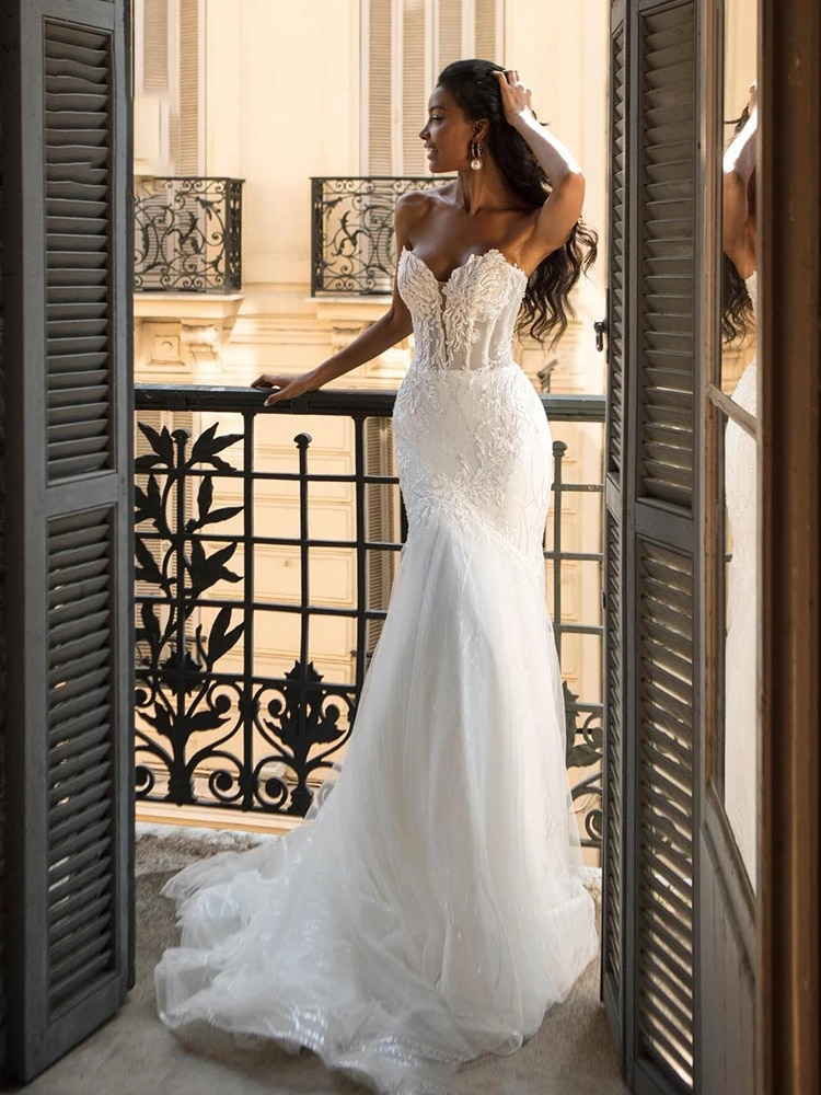 Get Wedding dress Mermaid wedding dress tube top lace trailing embroidery sleeveles retro simple wedding gown plus size