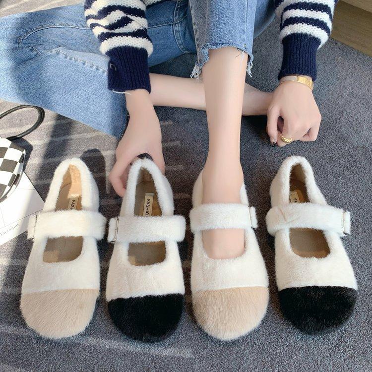 Fur Shoes Women's Autumn Winter Wear New Patchwork Color Matching Peas Shoes Women Plus Velvet Mary