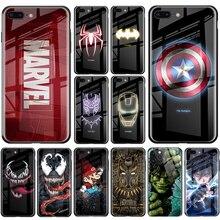 Marvel étui pour iPhone 11 Pro MAX X XS MAX XR 8 7 6 6s Plus verre lumineux couverture arrière Samsung S8 S9 S10 S20 Plus Note 8 9 10 Pro