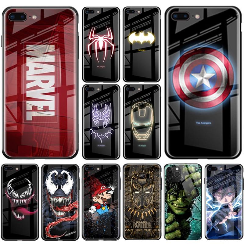 Чехол Marvel для iPhone 11 Pro MAX X XS MAX XR 8 7 6 6s Plus Светящееся Стекло задняя крышка Samsung S8 S9 S10 S20 Plus Note 8 9 10 Pro