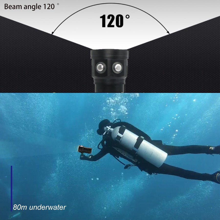 LED Diving Flashlight 20000Lumens 6 x XHP70 Underwater 100m Waterproof Tactical Torch Photography Video Fill Light With 18650 enlarge