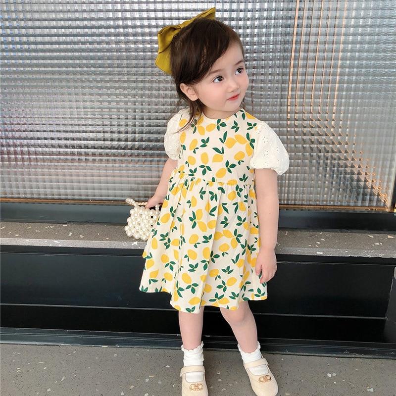 Kids Summer Clothes Baby Girls Dress Elegant Designer Princess Birthday Kawaii Short Sleeve Floral Casual Cotton Yellow Costume