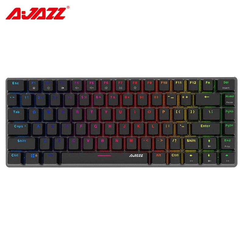 Ajazz AK33 Wired Gaming Mecânico Teclado com luz de Fundo RGB Interruptor Opcional 2 82 Chaves Anti-ghosting Azul Preto Cores keycap