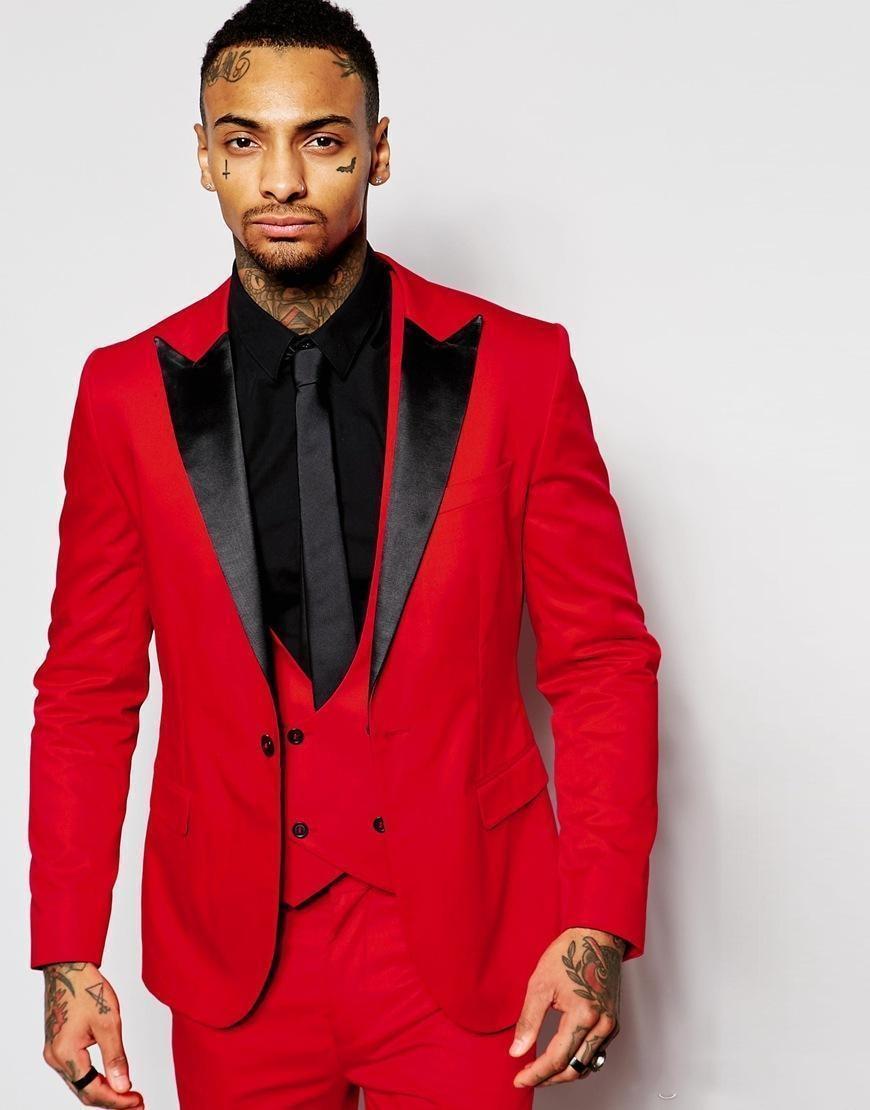 بدلة زفاف حمراء عصرية للرجال من لاجين ، بدلة زفاف أنيقة من ثلاث قطع مع طية صدر السترة السوداء ، بدلة زفاف مناسبة لرفقاء العريس