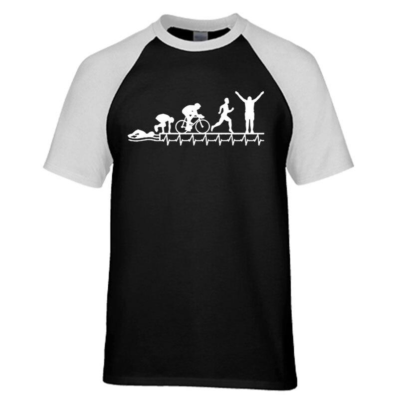 Мужская футболка для триатлона Ironman, Триатлон, Триатлон, сердцебиение, эволюция, футболка для мужчин, мужская одежда, реглан, футболка с коротким рукавом
