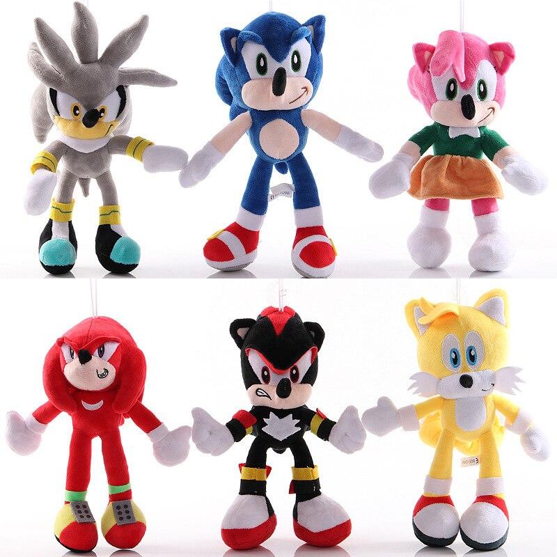 Muñecos de peluche de juguete Sonic de 6 estilos gran oferta juguetes de peluche de algodón de varios Roles modelo de muñeco de peluche suave para niños regalos de navidad