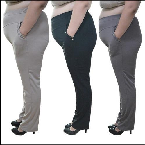 7xl plus size elegant lady office pants women 2020 summer solid slim cargo pants women elastic high waist straight pants fw583