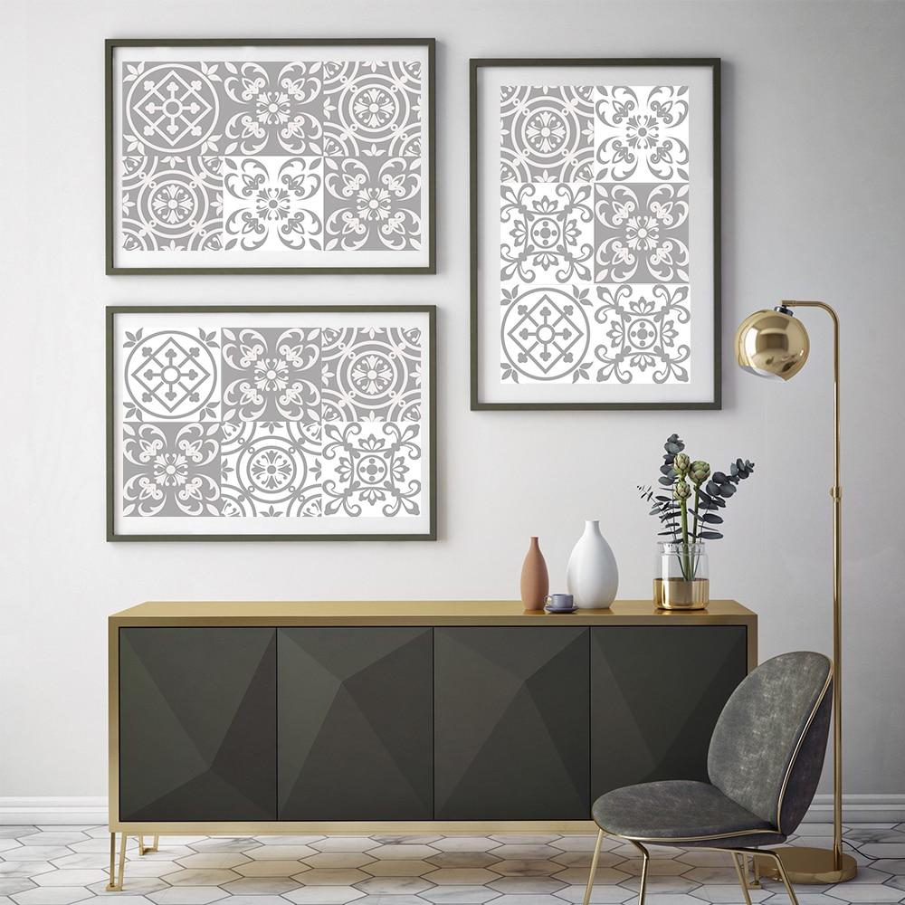 21*100cm * 7 Uds. Pegatina Retro marroquí gris para portátil, pegatina para armario, pegatina de suelo impermeable para cocina, papel de pared de baño
