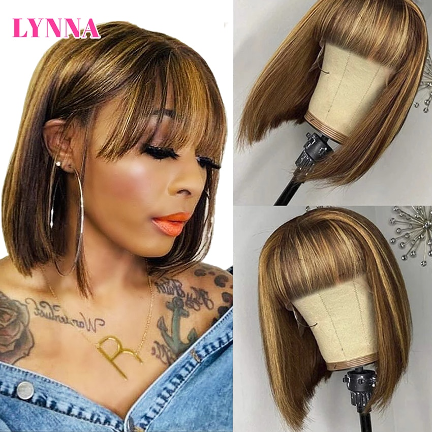 Highlight Bob Straight Wig With Bangs Full Machine Made Human Hair Wigs Short Bob Ombre Human Hair W