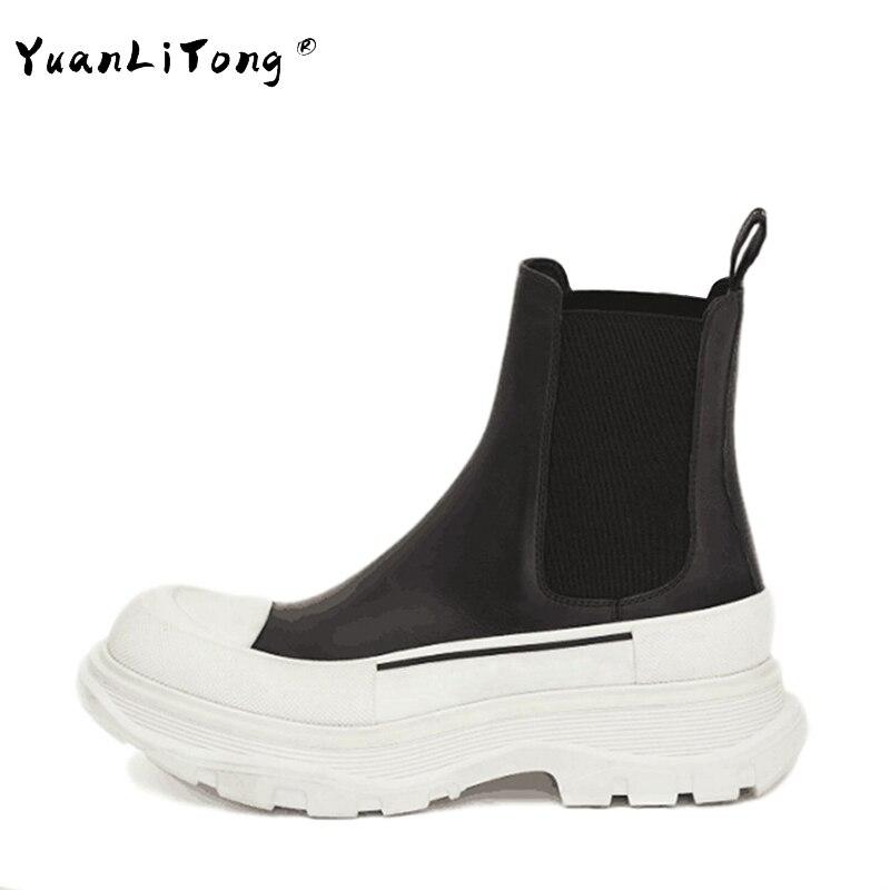 الخريف منصة مارتن الأحذية النساء سميكة وحيد الجلد الحقيقي الانزلاق على الكاحل بوتاس جولة تو مختلط اللون أحذية بوت قصيرة حذاء كاجوال