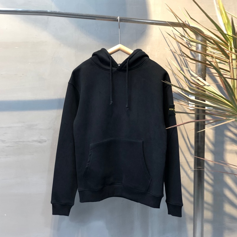 2021 Stone Island new basic wild plus velvet men's and women's hooded sweater loose trend street style couple tops
