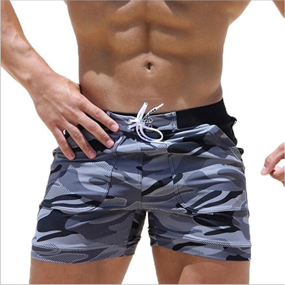 Men's Swimming Trunks Summer Swimming Fitness Shorts Men's Fashion Sports Beachwear Quick-Drying Stretch Beach Pants