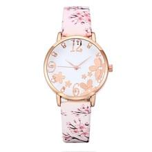 Fashion Women Vintage Embossed Flowers Watch relojes para mujer Girl Small Fresh Printed Belt Studen