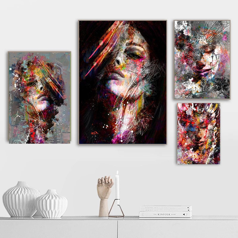 Абстрактные современные граффити искусство девушка стена на холсте картины стены искусство картины для гостиной Декор