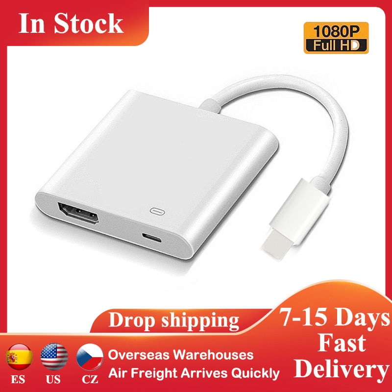 Adapter for iPhones 8 X 11 iPad to Projector 1080P HDMI-Compatible HD AV TV Port with Charging 8Pin