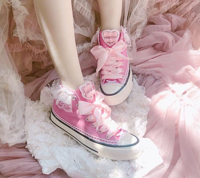 Ribbon lace lace ruffled princess canvas shoes flat women's shoes single shoes 2021 summer new butte