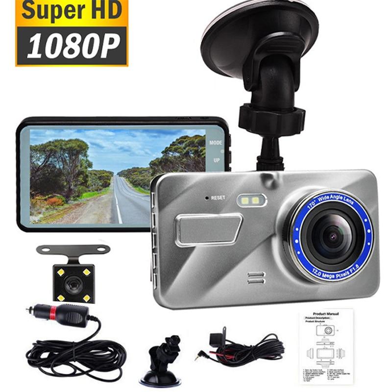 Car DVR Video Recorder Dash Cam Dual Lens HD 1080P Auto Digital 4'' IPS Touch Screen DVR Camera G-Sensor WDR Car DVRS недорого