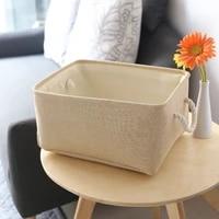 new large folding linen fabric storage basket kids toys storage box clothes storage bag organizer holder with handle storage