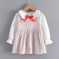 baby girl dress 2021 new spring autumn cute plaid princess dresses chlidren with bow tie spring newborn birthday dress costume