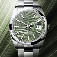 Mechanical Automatic Watch Oyster Perpetual Datejust High Quality 1:1 Olive Green Palm Men'S 41Mm Sa