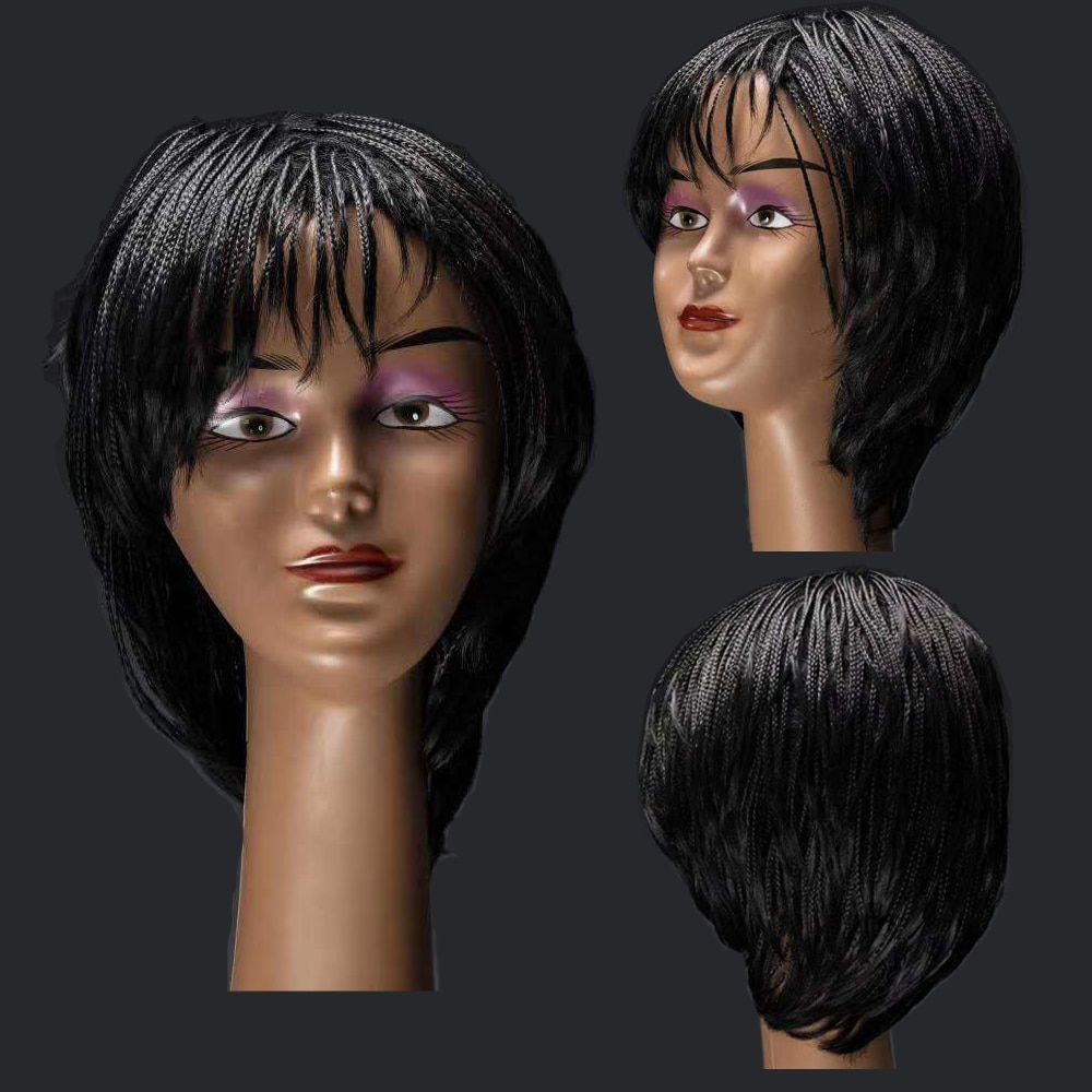 Synthetic Braided Box Braids Wig With Bangs Short Summer Bob Wig Heat Resistant Fiber Hair For Black Women Cosplay Natural